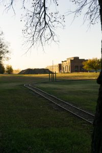 A small gauge railroad rings the playground while a brochure in the shower house recommends the local train museum.